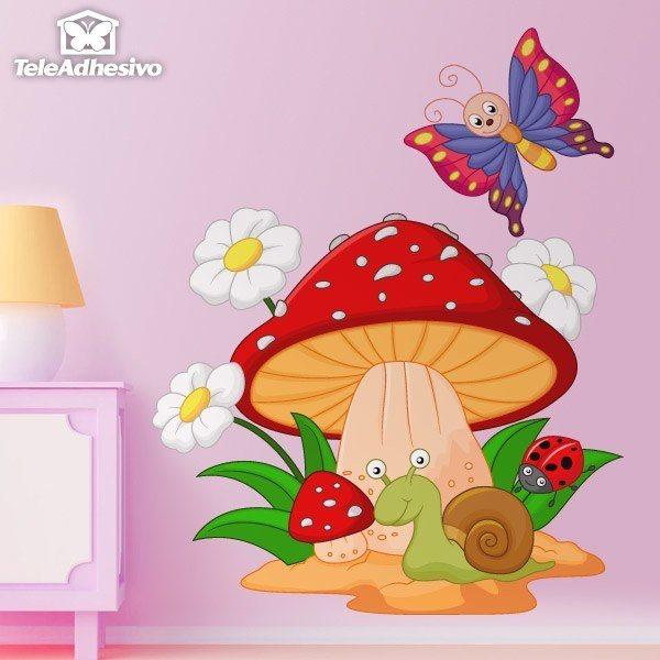 Vinilo decorativo infantil seta margaritas caracol y for Setas decoracion