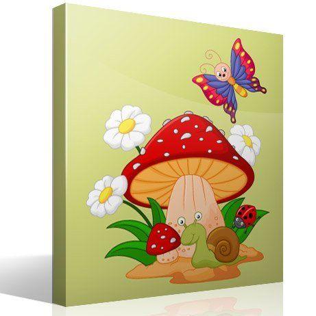 Seta margaritas caracol y mariposa - Vinilos infantiles grandes ...