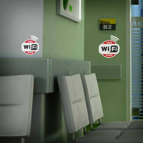 Vinilos Decorativos: Free Wifi Zone - Pack 3 pegatinas