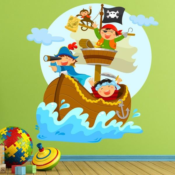 Piratas navegando en su barco for Donde venden vinilos para pared