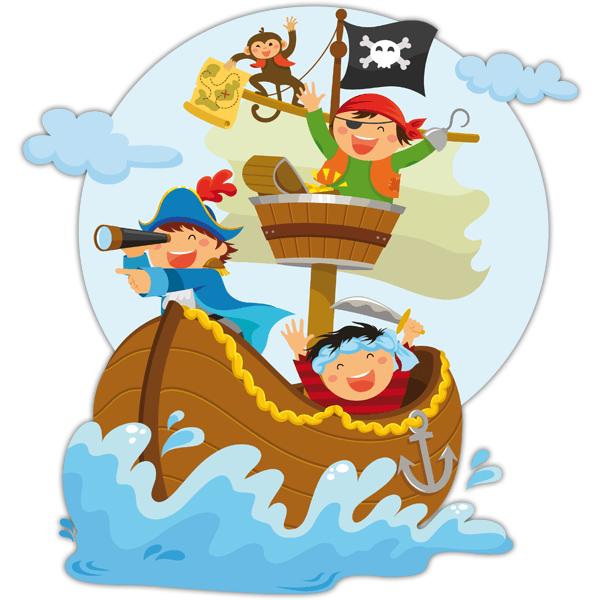 Vinilo decorativo infantil Piratas navegando en su barco ... b32408d38aa