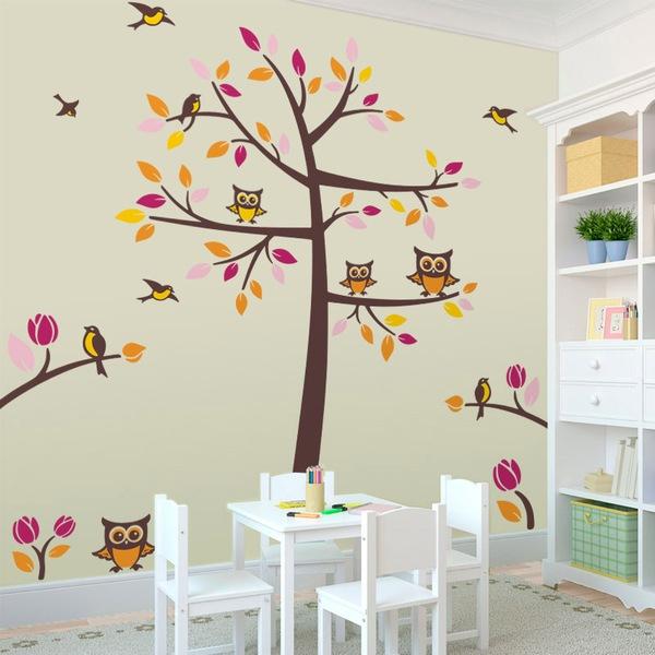 vinilo decorativo infantil Árbol con pájaros y búhos teleadhesivo com