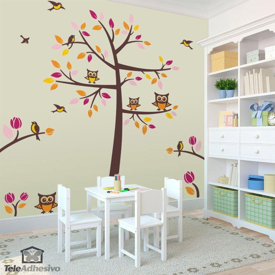 Vinilo infantil rbol p jaros y b hos en oto o for Murales de tela para pared