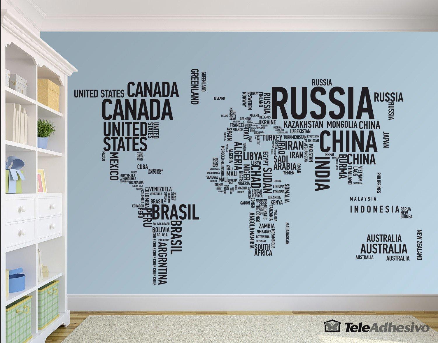 Original vinilo decorativo de completo mapa mundi tipogr fico for Vinilo mapa del mundo