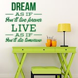 Vinilos Decorativos: Dream as if you´ll live forever 2