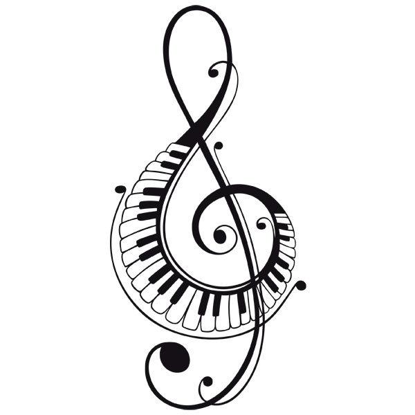 Vinilo Decorativo Clave De Sol Con Teclas De Piano Teleadhesivocom
