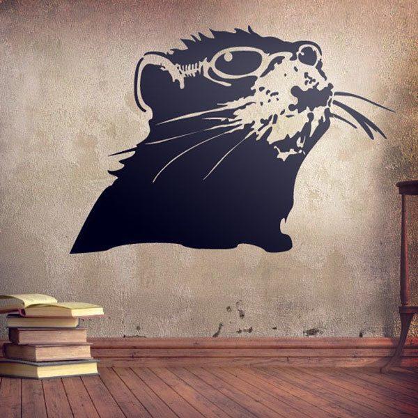 Vinilo Decorativo Rata De Banksy Teleadhesivocom