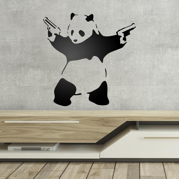 Vinilo Decorativo Panda Armado De Banksy Teleadhesivocom