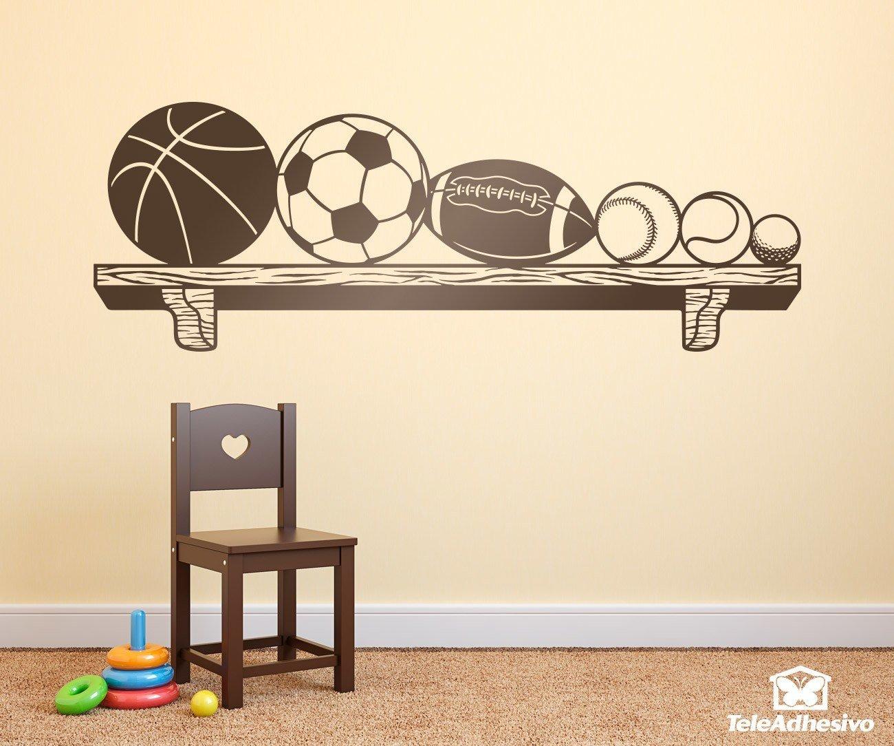 Vinilo decorativo de estante con pelotas o balones de for Vinilos para pared ninos