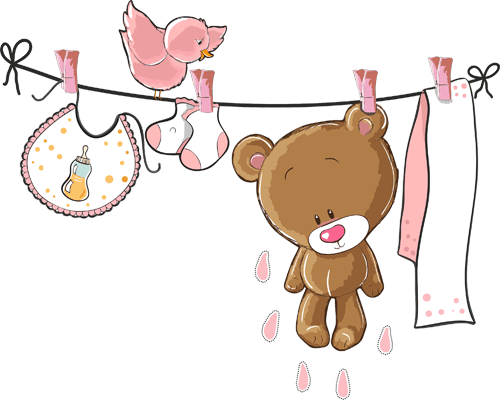 Oso en el tendedero rosa