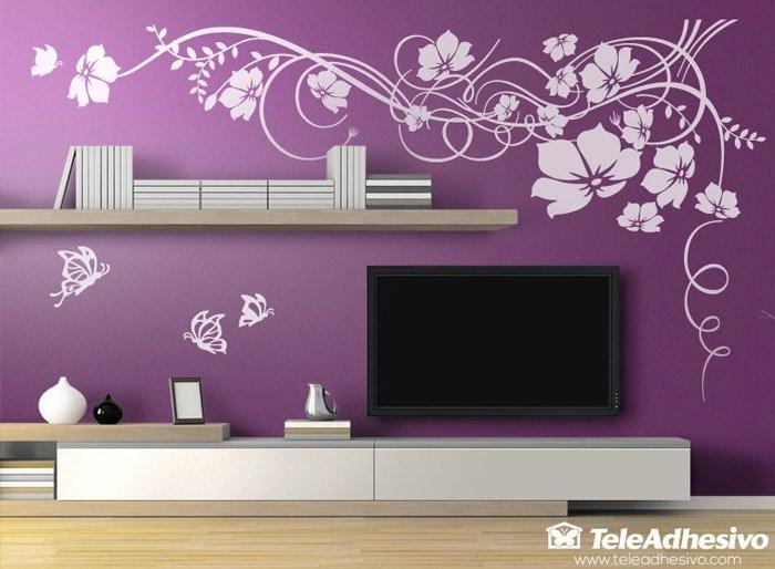 Vinilo gran floral con mariposas for Vinilos decorativos salon