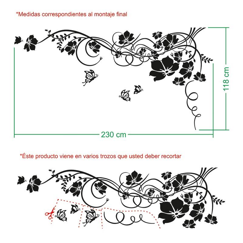 Vinilos Decorativos: Gran Floral con Mariposas