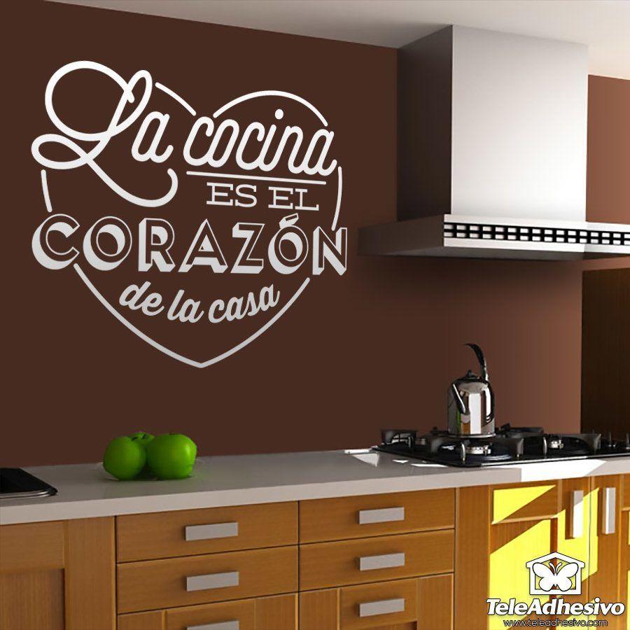 Vinilo para cocina la cocina es el coraz n de la casa - Papel de vinilo para cocinas ...