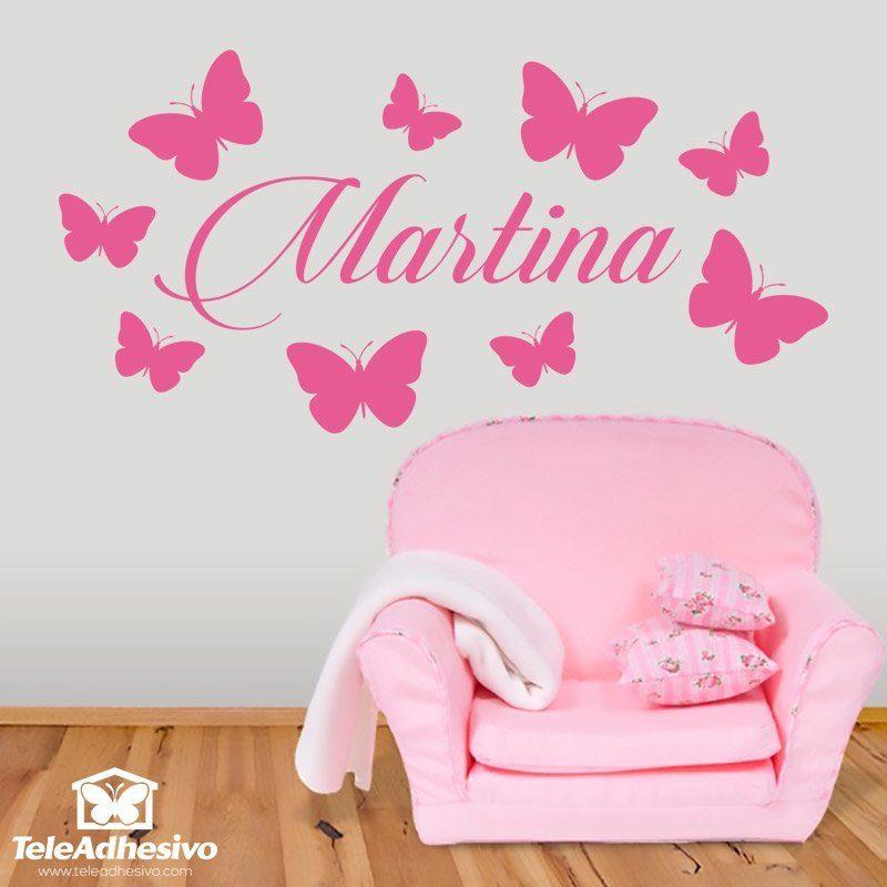 Vinilo infantil para ni as personalizado de mariposas for Vinilos infantiles para ninas