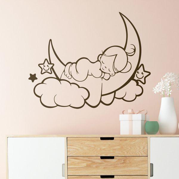 Ni a durmiendo en la luna y estrellas for Vinilos decorativos infantiles para nina