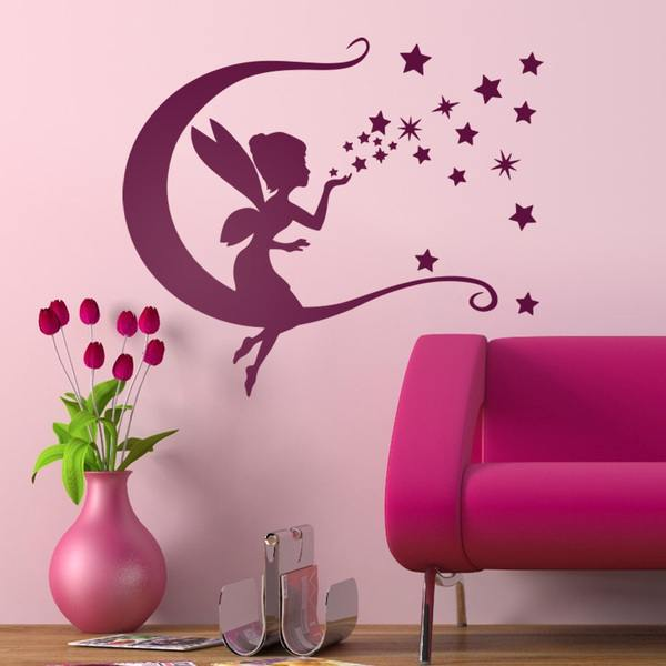 Adhesivo decorativo del hada campanilla luna y estrellas for Vinilos decorativos pared infantiles