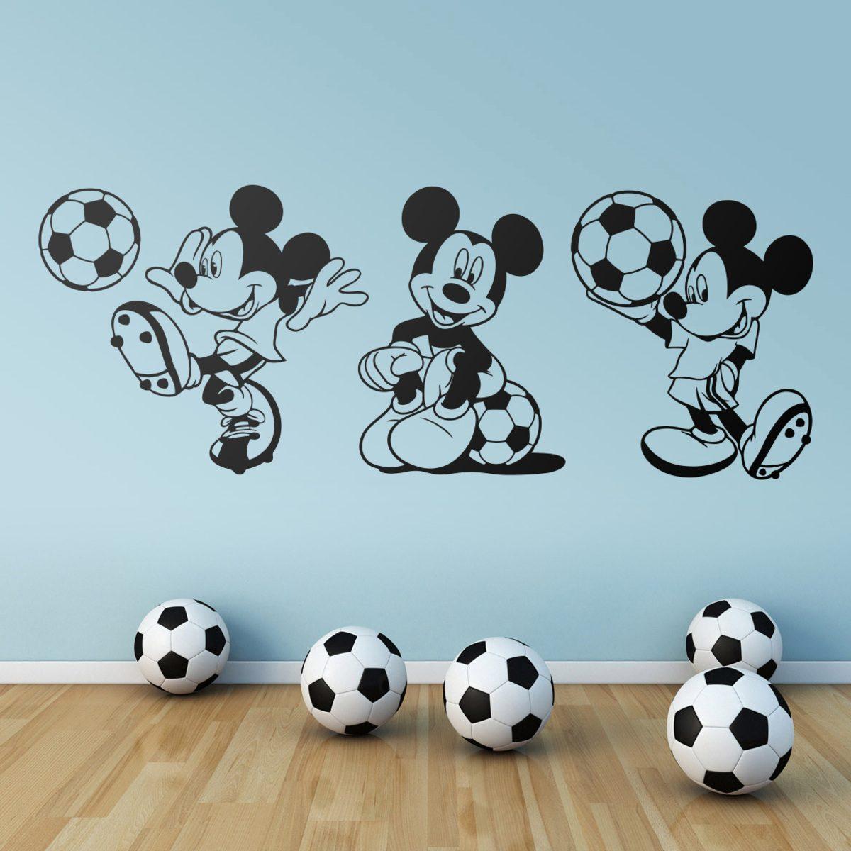 vinilo infantil con tr ptico de mickey mouse futbolista