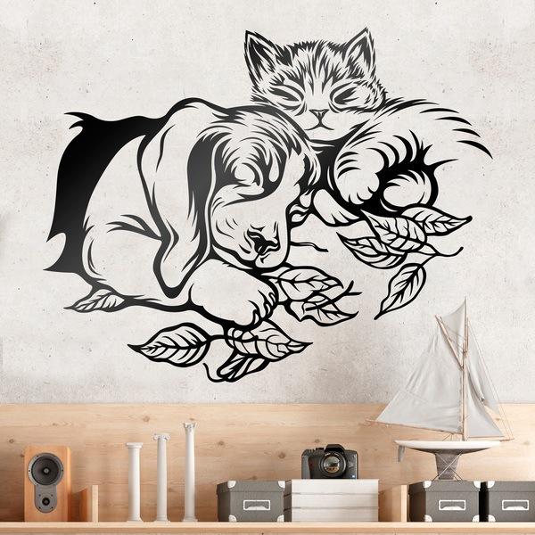 Vinilo decorativo perro y gato durmiendo - Vinilos decorativos gatos ...