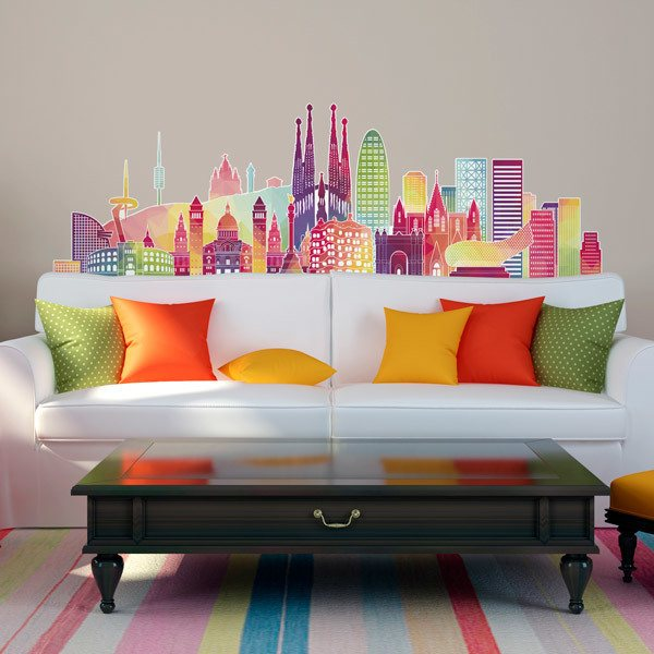 Vinilo decorativo barcelona skyline color for Vinilos pared barcelona