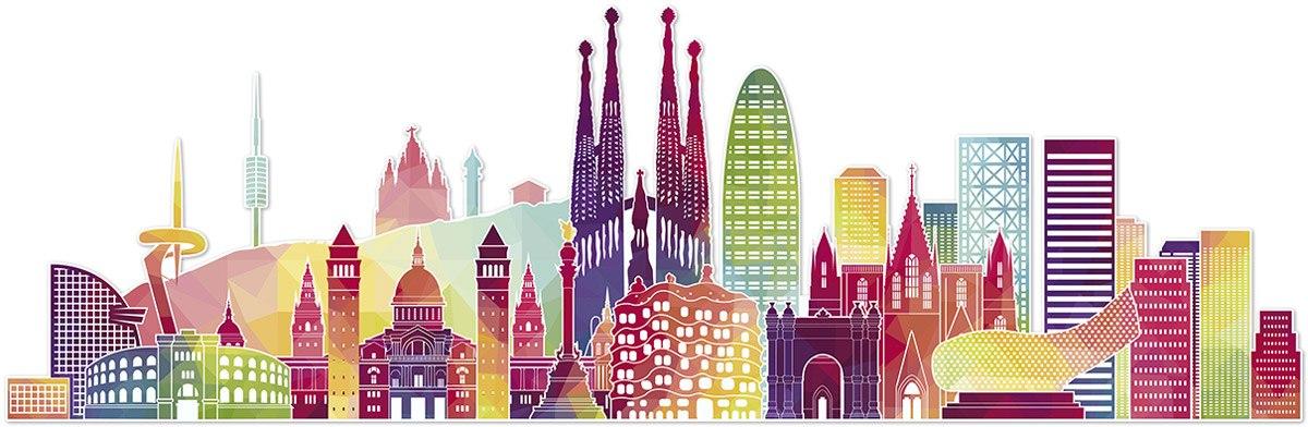 Vinilo decorativo barcelona skyline color - Teleadhesivo vinilos decorativos espana ...