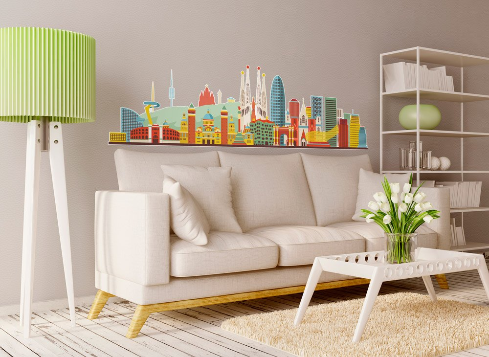 Vinilo decorativo skyline barcelona color 2 for Vinilos pared barcelona