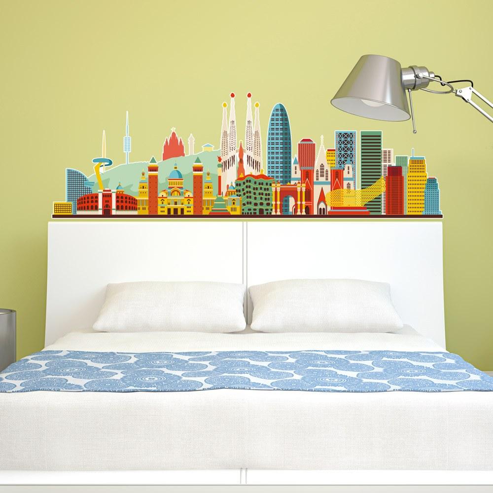 Vinilo decorativo skyline barcelona color 2 - Vinilos de color ...
