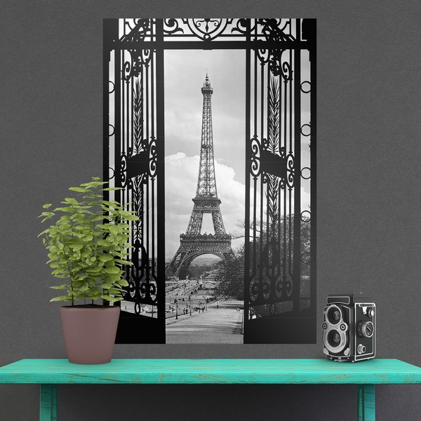 P ster adhesivo puerta y torre eiffel - Posters de vinilo ...