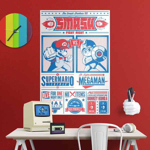 Vinilos Decorativos: Mario Bros vs Megaman 1