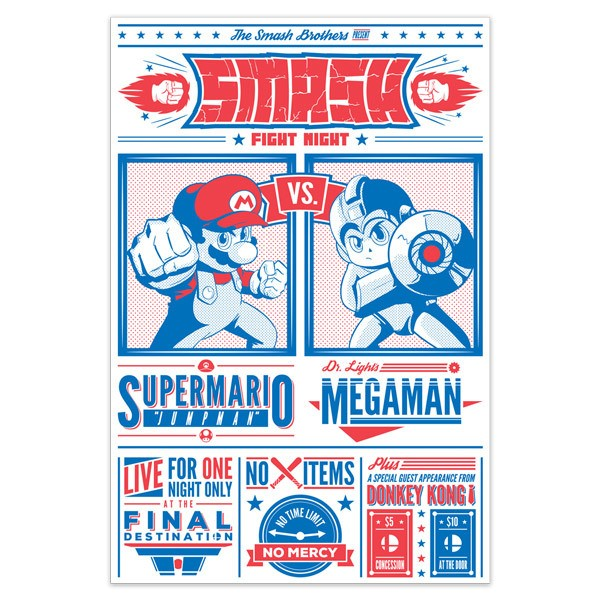 Vinilos Decorativos: Mario Bros vs Megaman