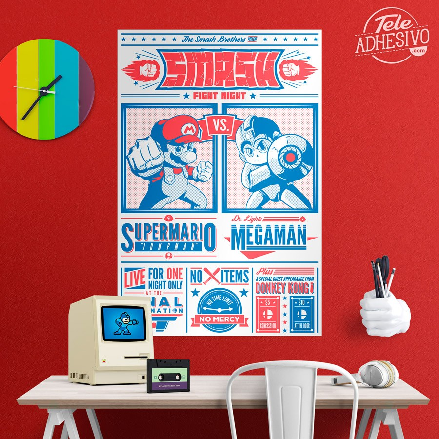 Vinilos Decorativos: Mario Bros vs Megaman 5