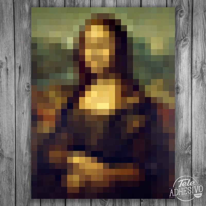 Póster en vinilo adhesivo de la Mona Lisa (Gioconda) en pixel