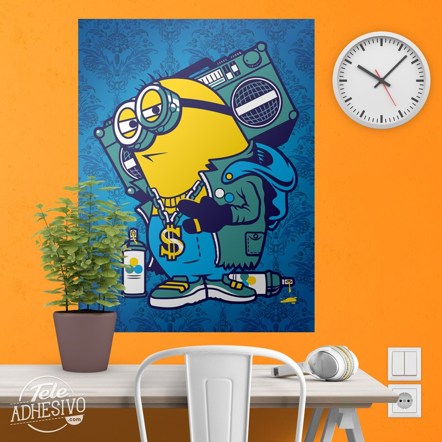 p ster adhesivo minion bomb box graffiti