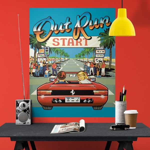 Vinilos Decorativos: Póster adhesivo Out Run Arcade