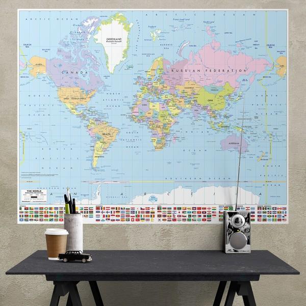 P ster adhesivo mapamundi con banderas for Precio de vinilos decorativos