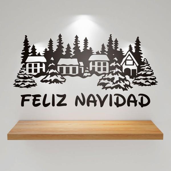 Vinilo decorativo casas nevadas y feliz navidad 1 - Vinilos decorativos de navidad ...