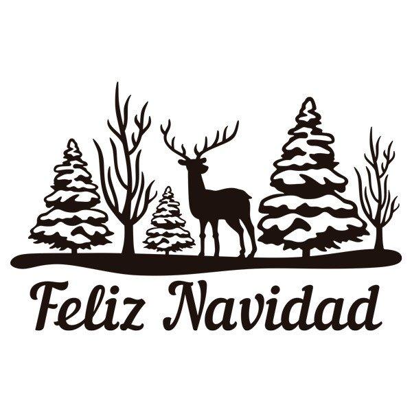 Vinilo Decorativo Arboles Ciervo Y Feliz Navidad - Ciervo-navidad