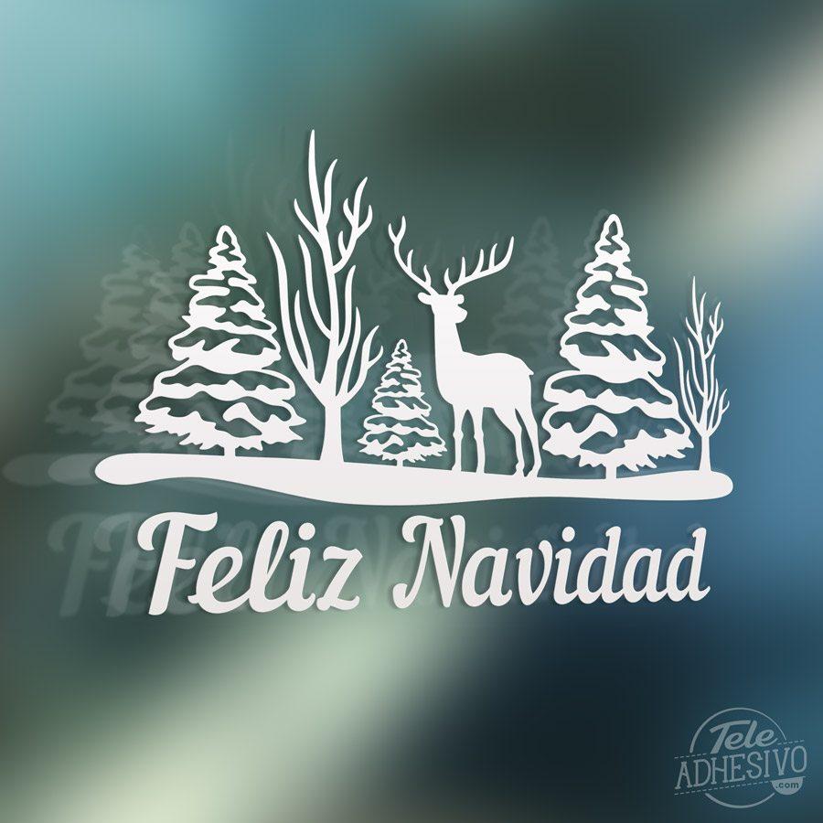 Vinilo decorativo rboles ciervo y feliz navidad - Decorativos de navidad ...