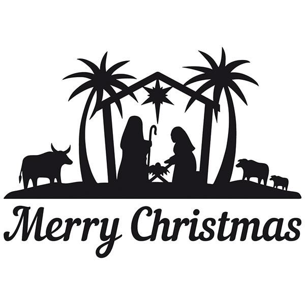 Vinilo decorativo Merry Christmas en el portal de Belén ...