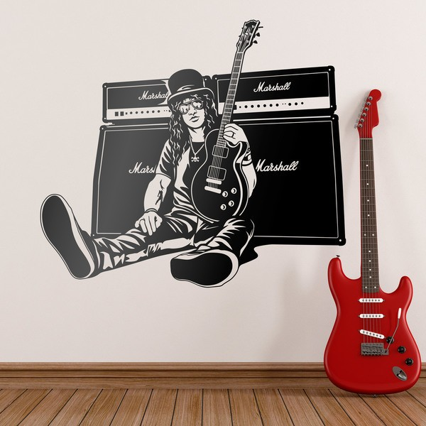 Vinilos Decorativos: Slash, guitarra y altavoces