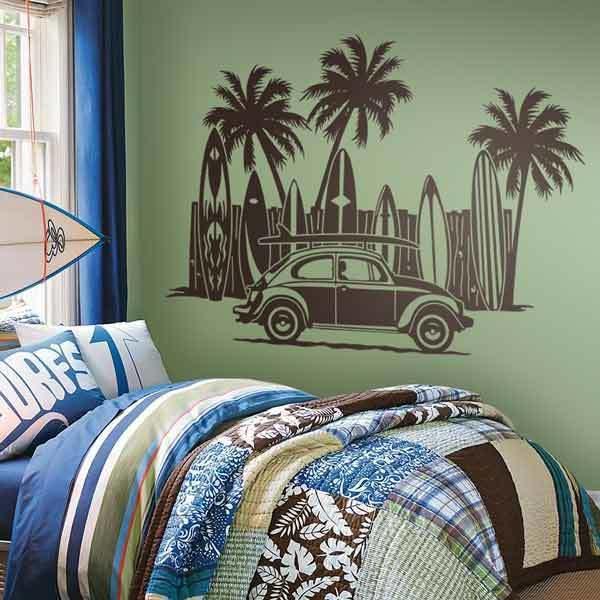 Vinilo decorativo volkswagen tablas de surf y palmeras - Tablas de surf decorativas ...