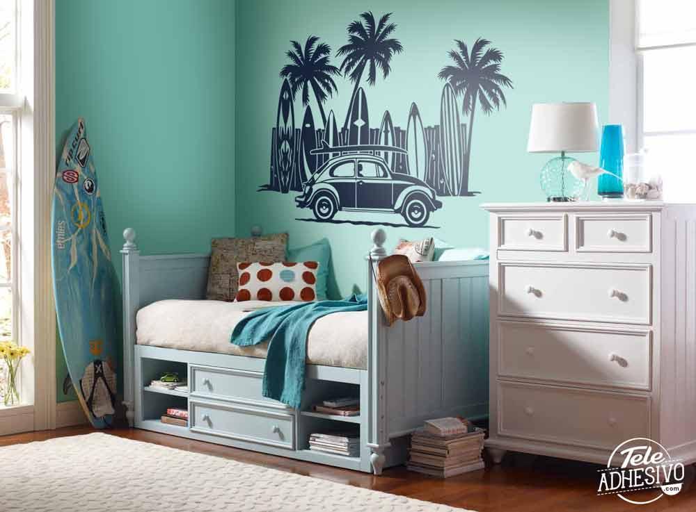 Vinilo decorativo Volkswagen, tablas de surf y palmeras ...