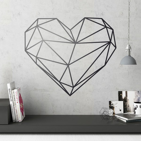 Vinilo decorativo corazón a líneas rectas
