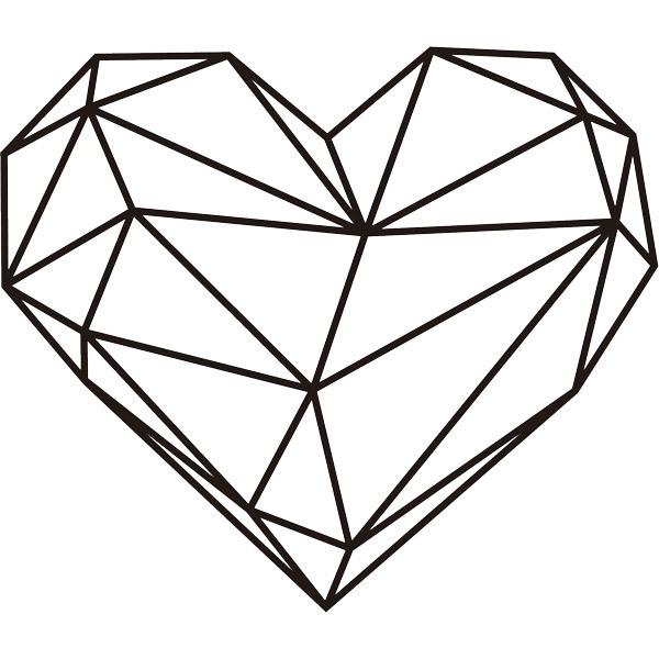Vinilo Decorativo Origami Geometrico Corazon - Origami-corazn