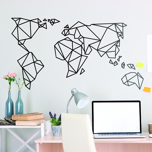 Vinilo decorativo mapa mundi origami - Vinilo mapa mundi ...