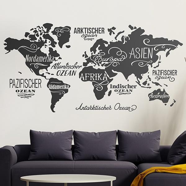 Vinilo decorativo mapa mundi en alem n - Vinilos mapa mundi ...