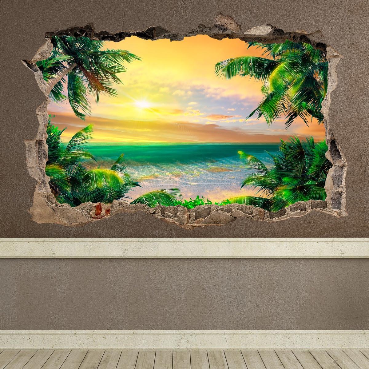 Adhesivos decorativos con vistas a las playas del caribe for Perchero pared sin agujeros