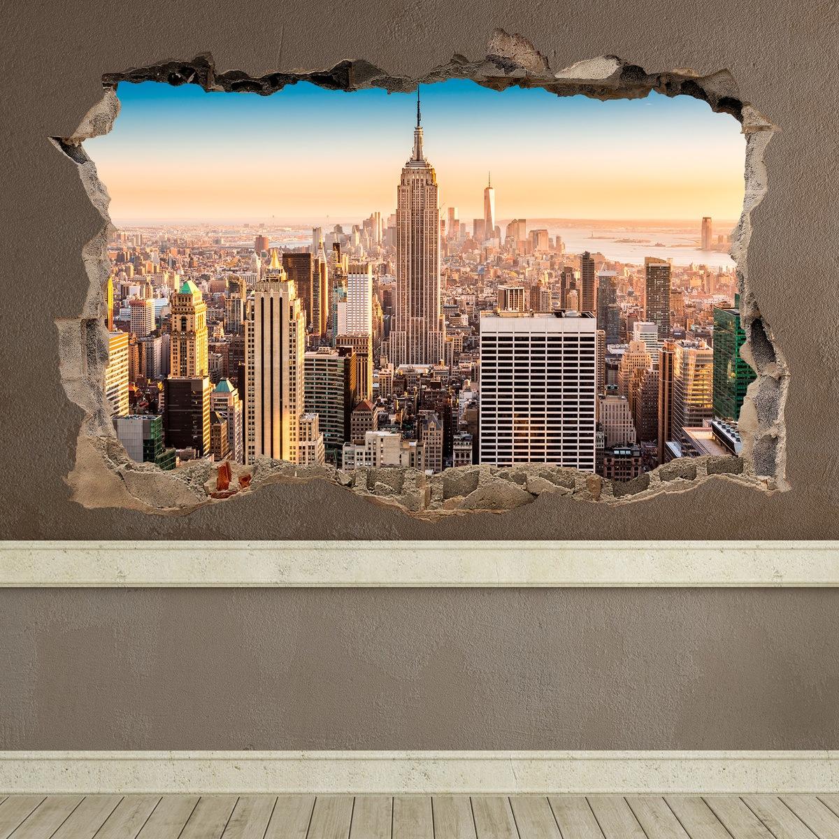 Vinilo agujero nueva york for Vinilos decorativos pared 3d