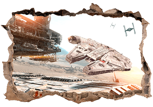 Vinilo de pared Star Wars con el Halcón Milenario volando