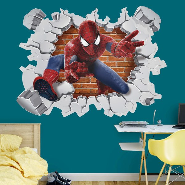 Vinilos Infantiles: Agujero pared Spiderman