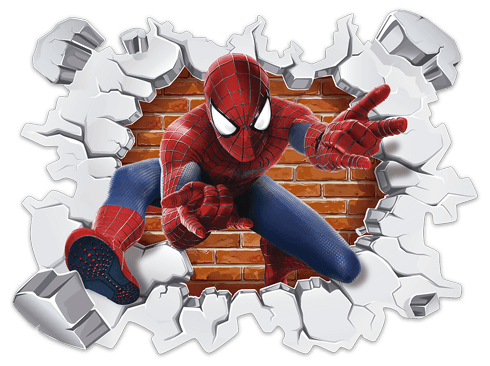 Agujero pared spiderman for Stickers de pared infantiles